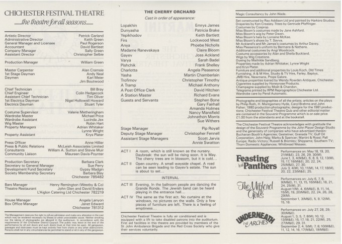 Cast List - The Cherry Orchard - 1981 - 2 of 2