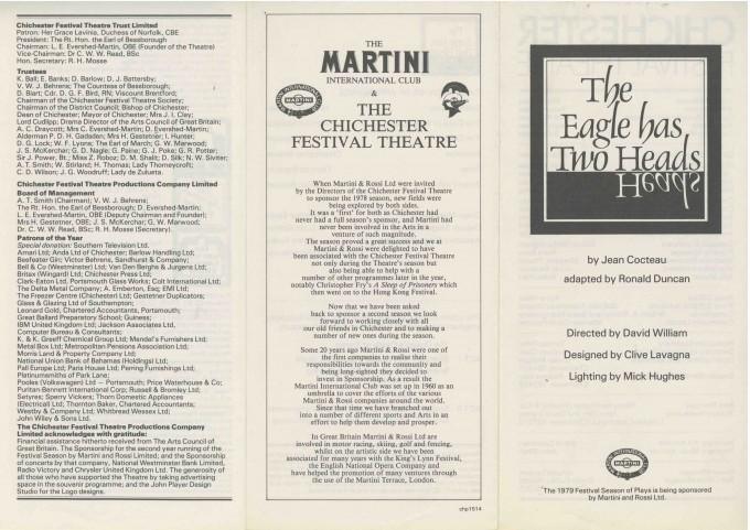 Cast List - The Eagle has two Heads  - 1979-  1 of 2