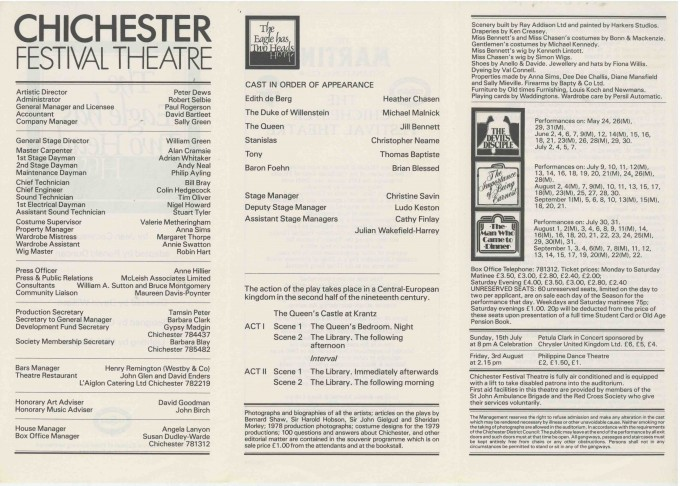Cast List - The Eagle has two Heads  - 1979-  2 of 2
