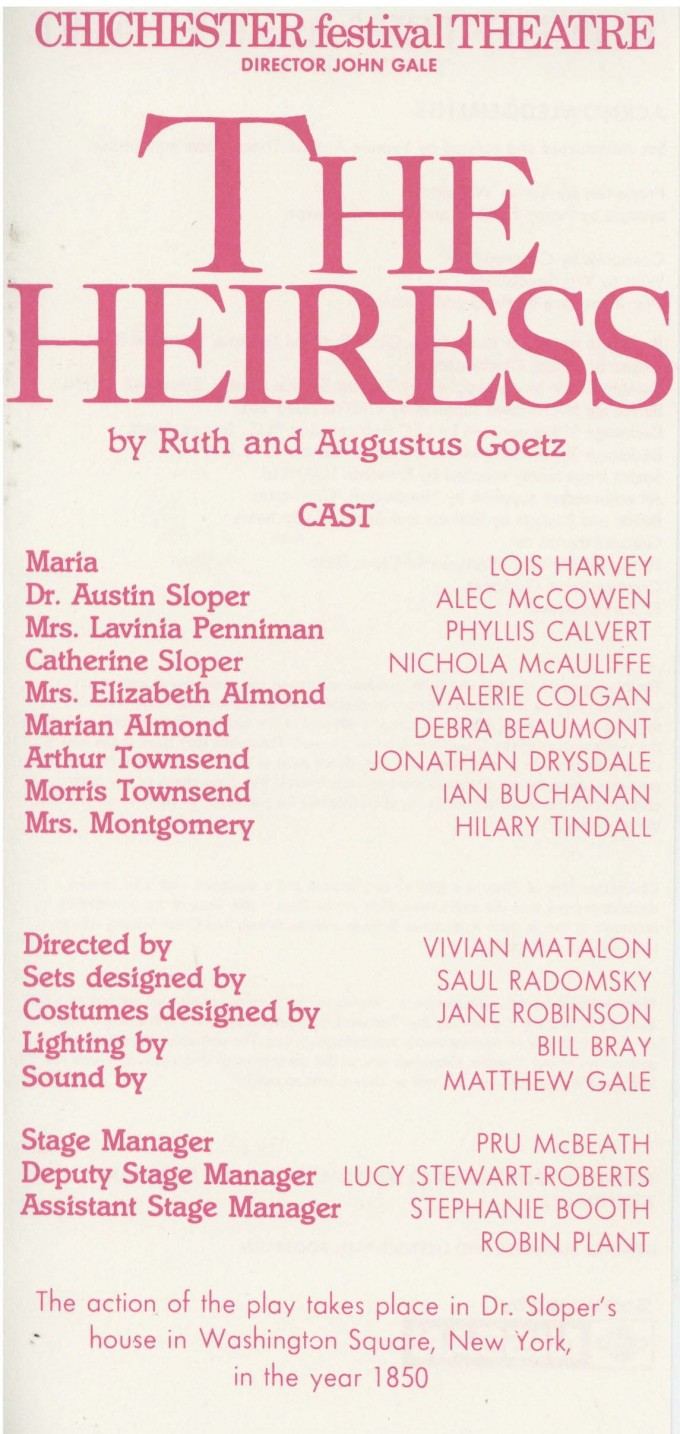 Cast List - The Heiress - 1989 - 1 of 2