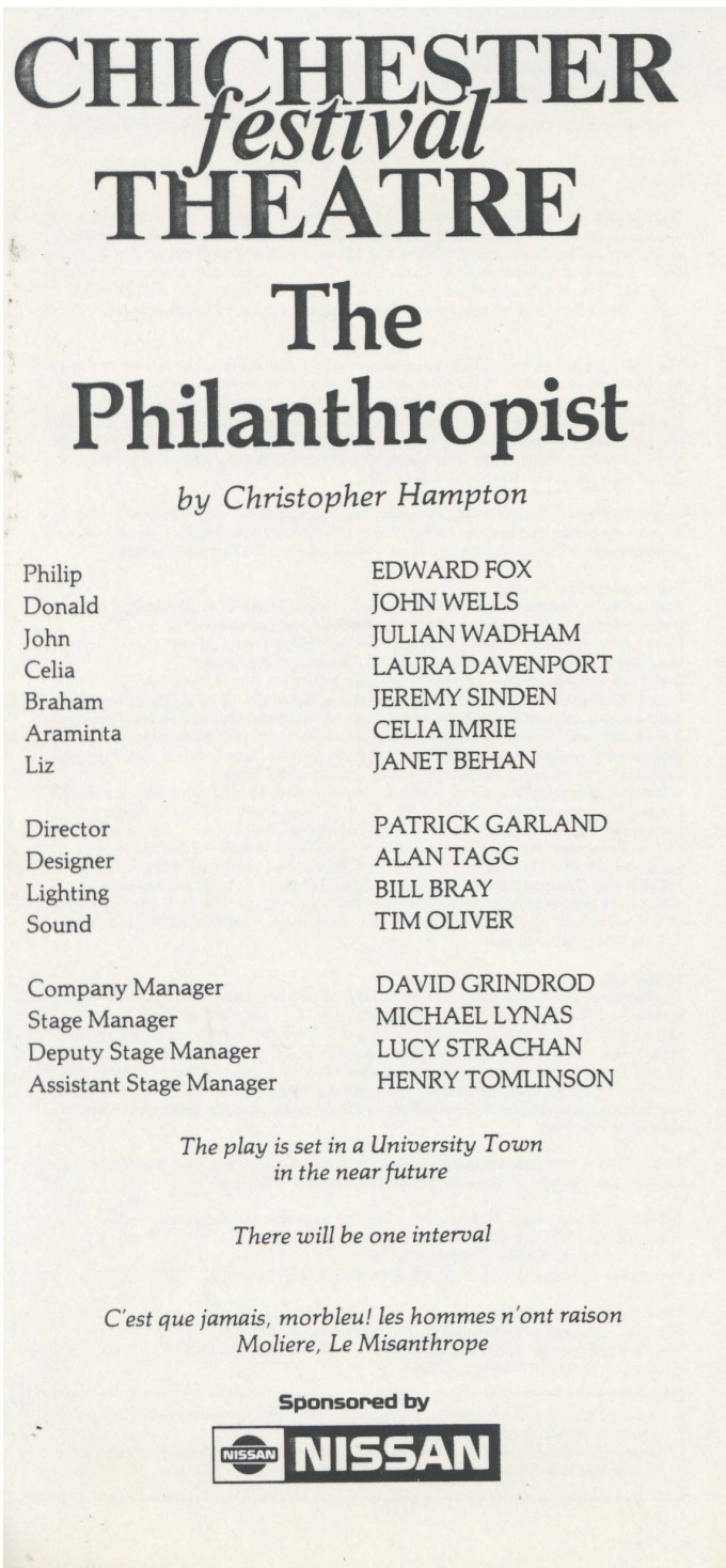 Cast List - The Philanthropist - 1985 - 1 of 2