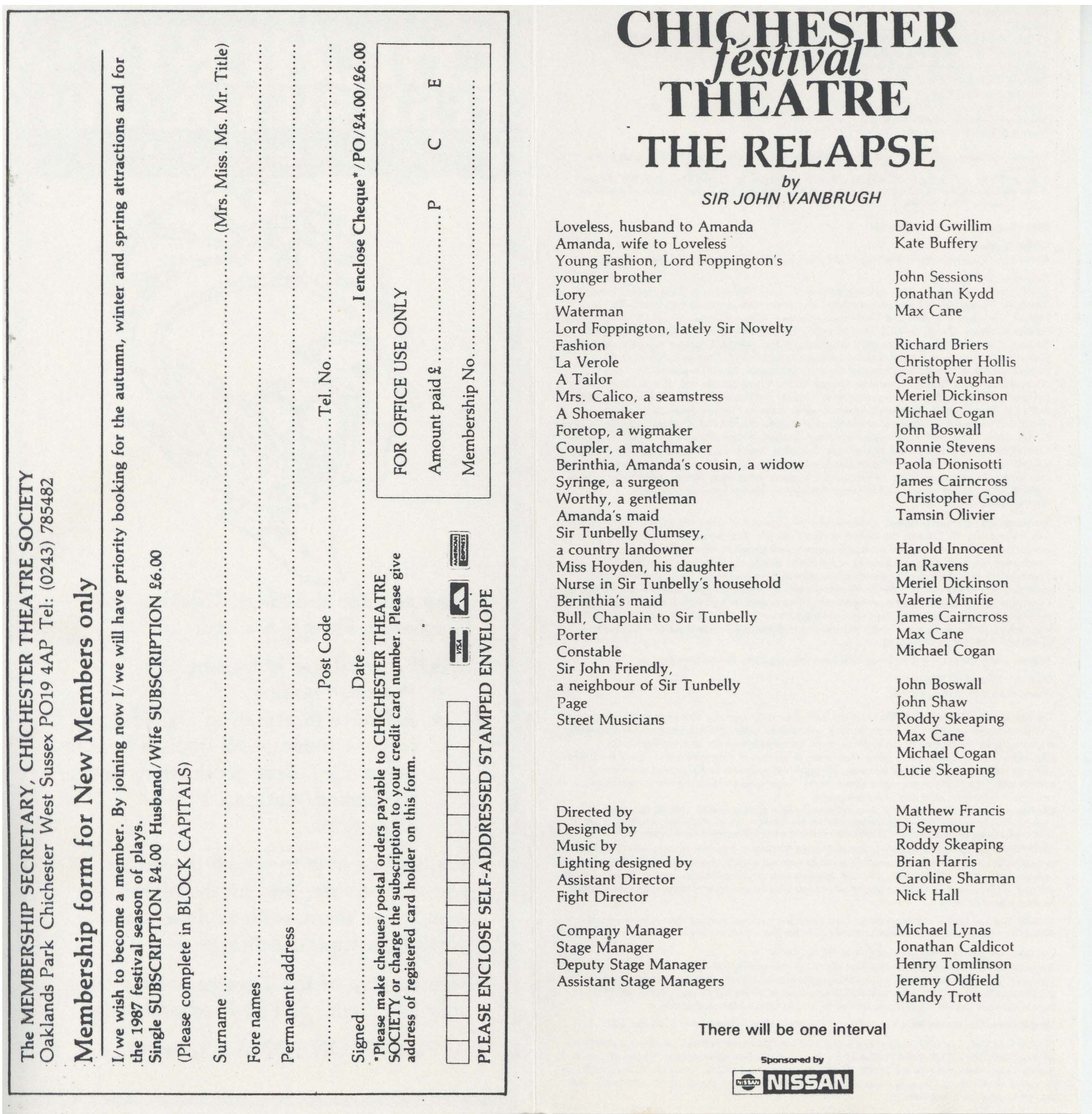 Cast List - The Relapse - 1986 - 2 of 2