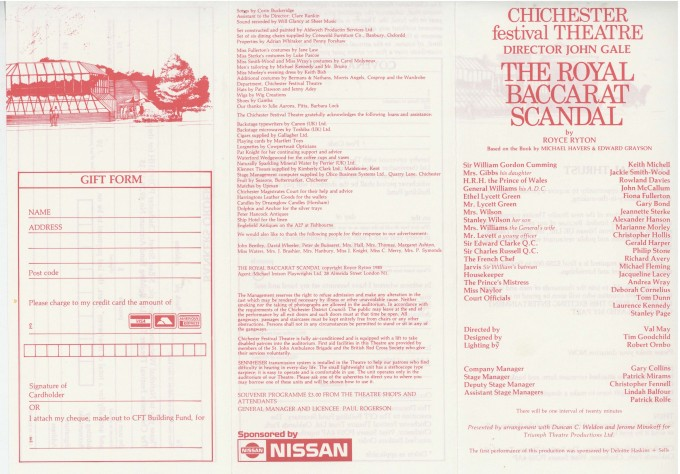 Cast List - The Royal Baccarat Scandal - 1988 - 1 of 2