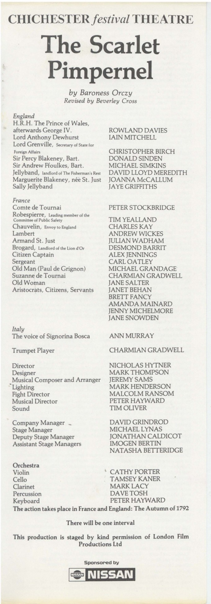Cast List - The Scarlet Pimpernel - 1985 - 1 of 2