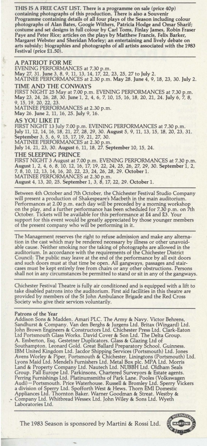 Cast List - Time and the Conways - 1983 - 2 of 2