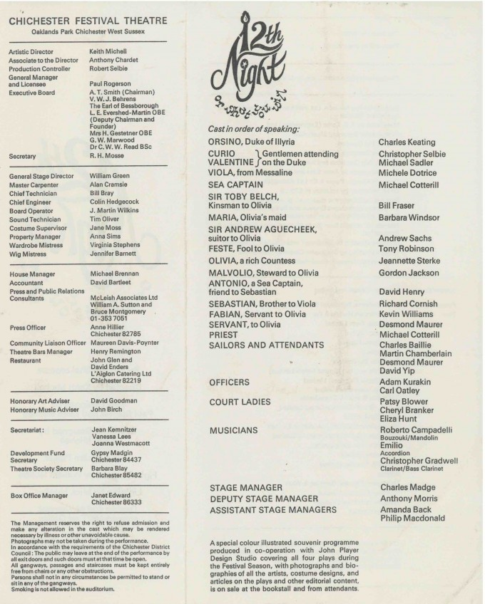 Cast List - Twelfth Night  - 1976- 2 of 2