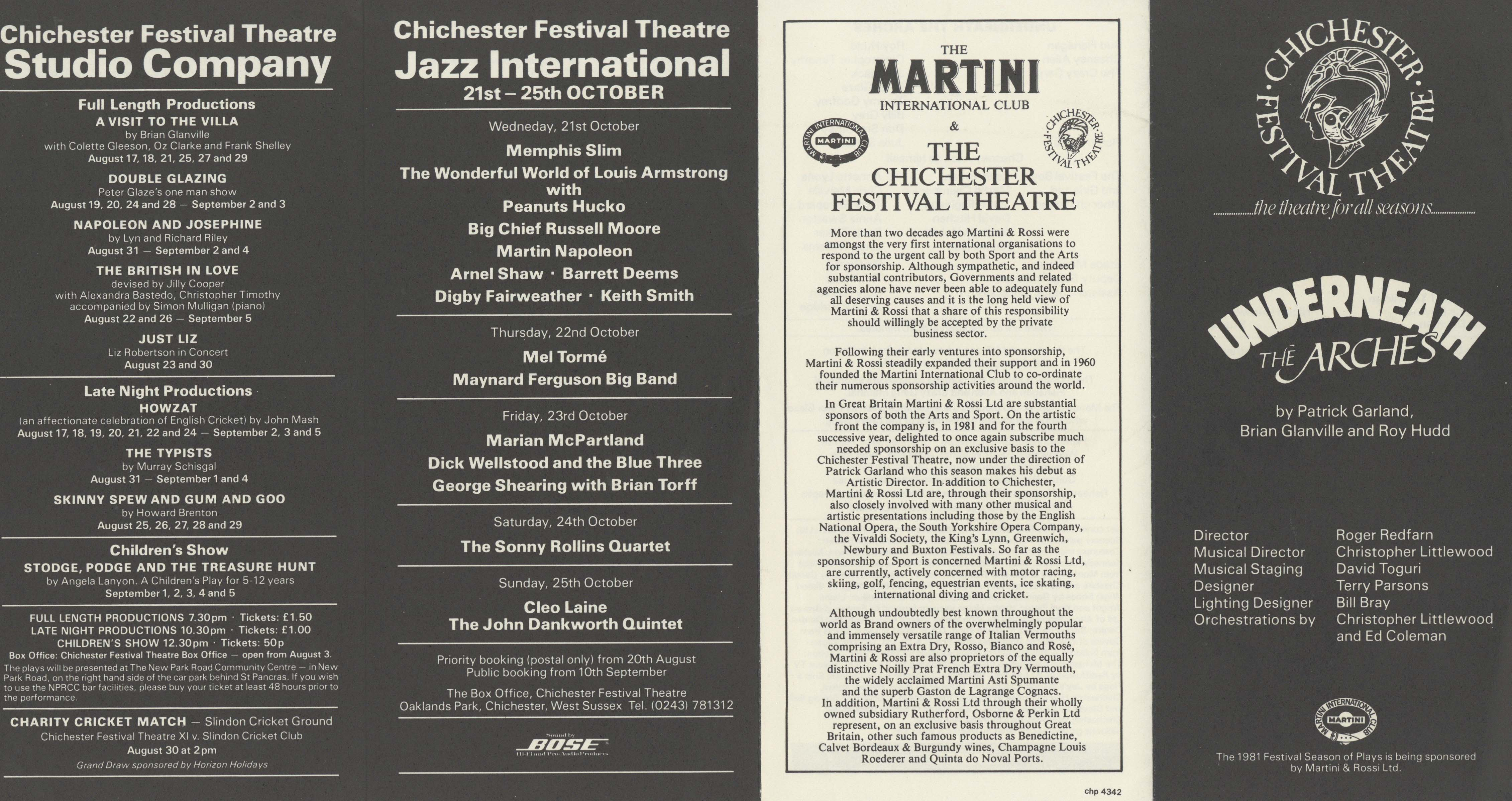 Cast List - Underneath The Arches - 1981 - 1 of 2