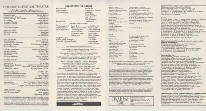 Cast List - Underneath The Arches - 1981 - 2 of 2