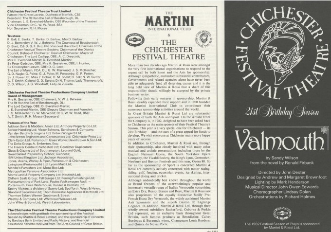 Cast List - Valmouth - 1982 - 1 of 2