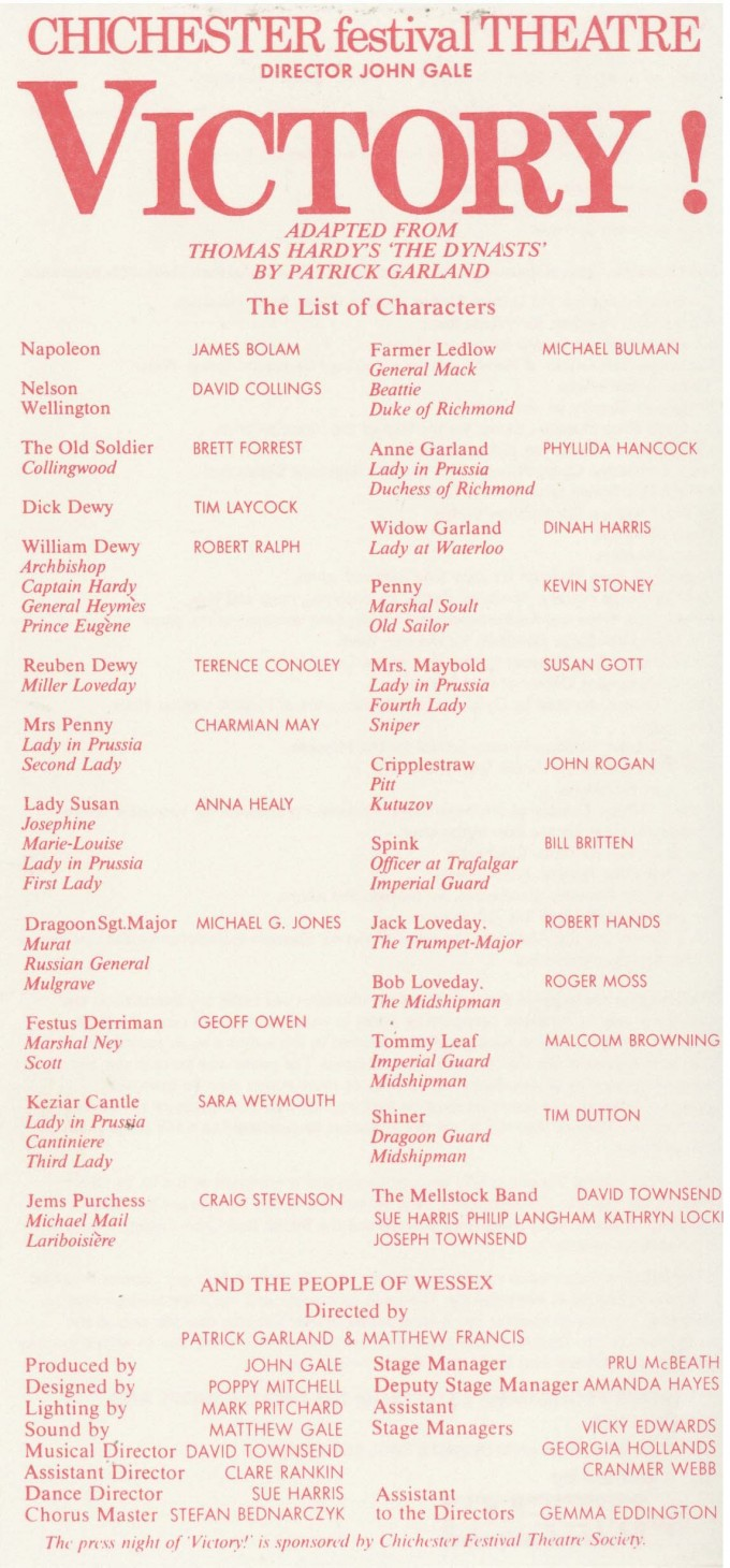 Cast List - Victory - 1989 - 1 of 2