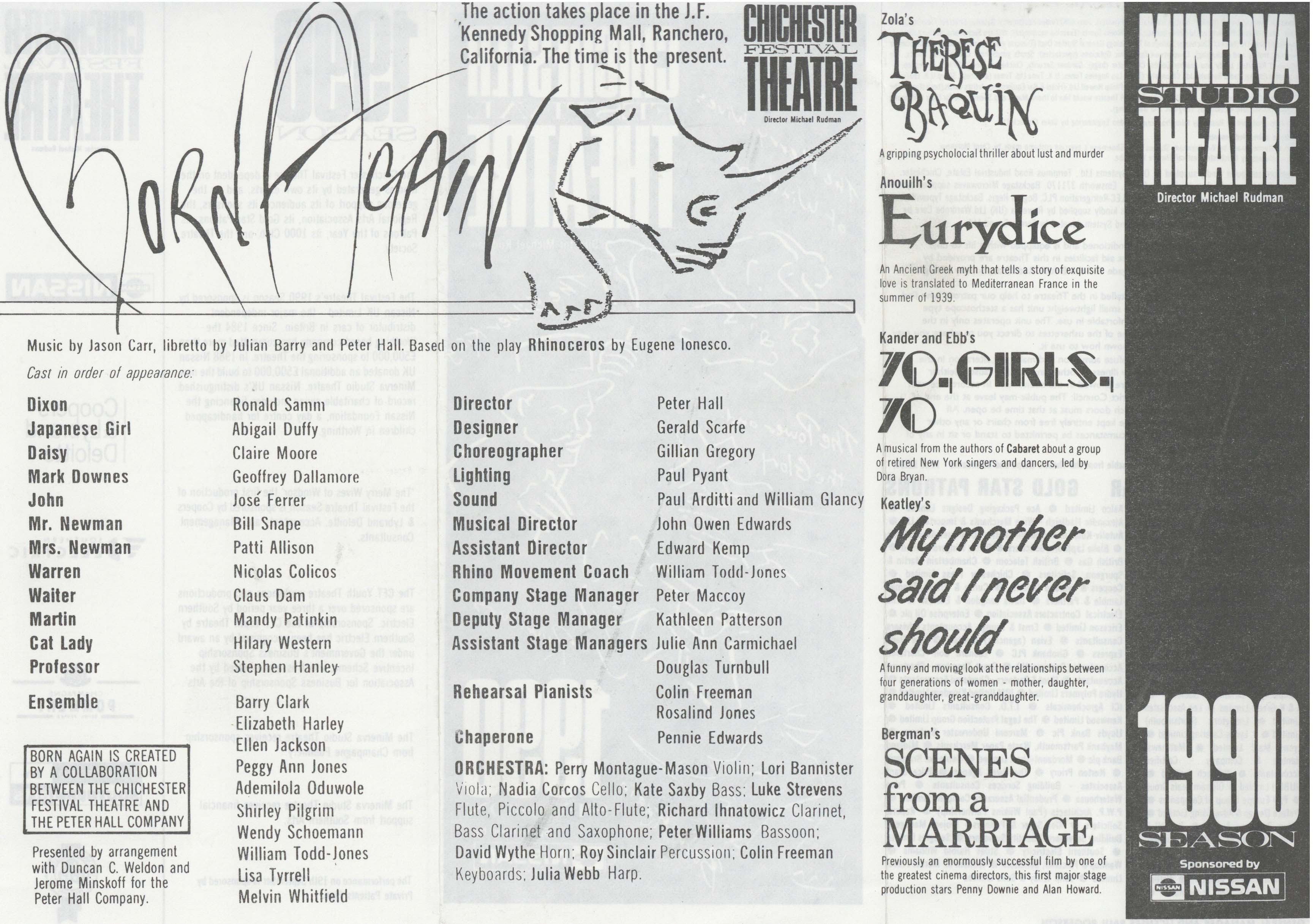 Cast List - Born Again - 1990 - 1 of 2