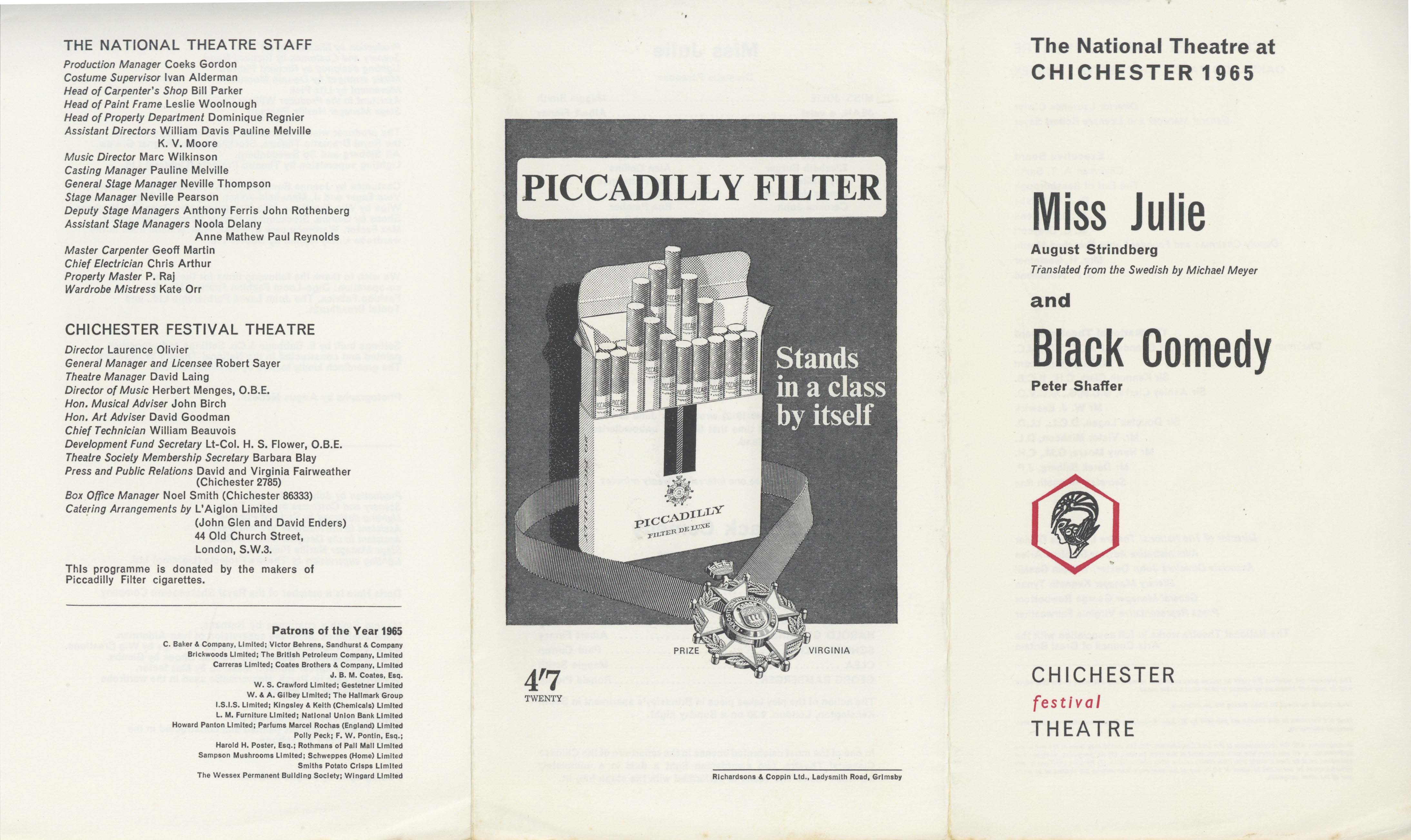 Cast List - Miss Julie, Black Comedy - 1965 - 1 of 2