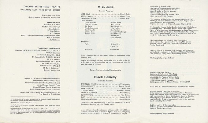 Cast List - Miss Julie, Black Comedy - 1965 - 2 of 2