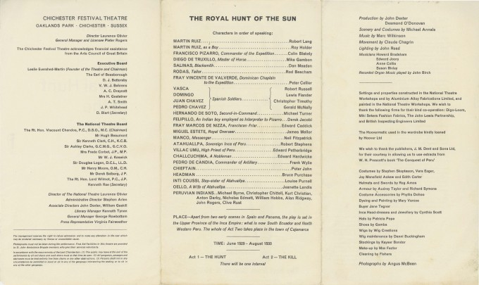 Cast List - The Royal Hunt of the Sun - 1964 - 2 of 2