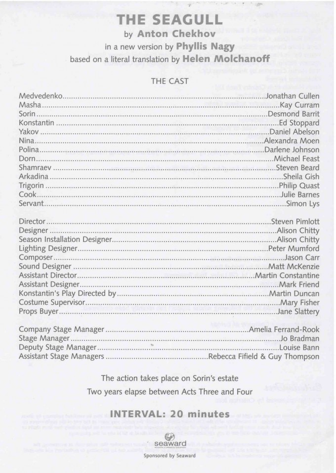 Cast List - The Seagull - 2003 -1 of 2
