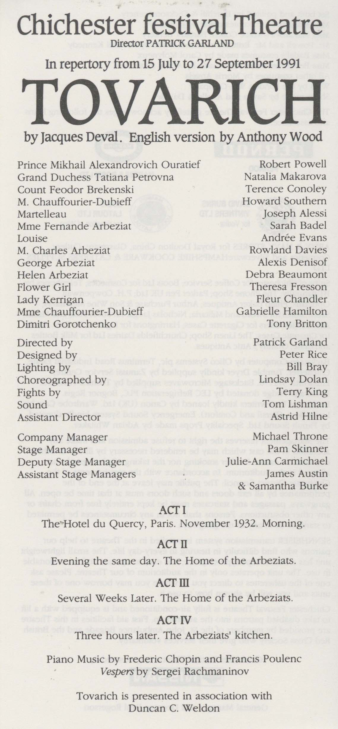 Cast List - Tovarich - 1991 - 1 of 2