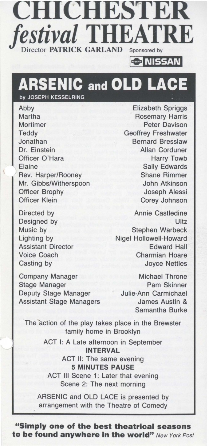 Cast list - Arsenic and Old Lace - 1991 -  1 of 2