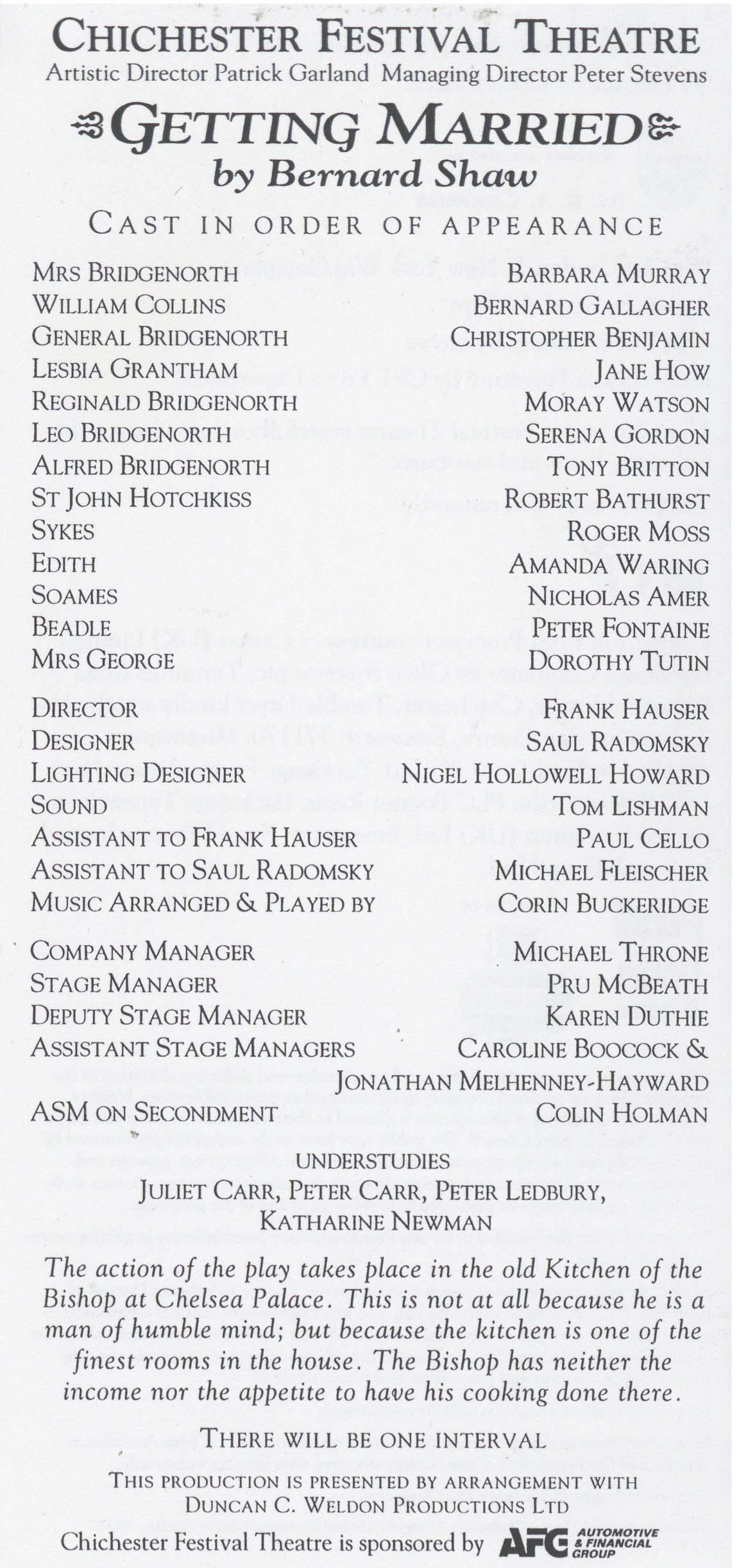 Cast list- Getting Married - 1993 -  1 of 2