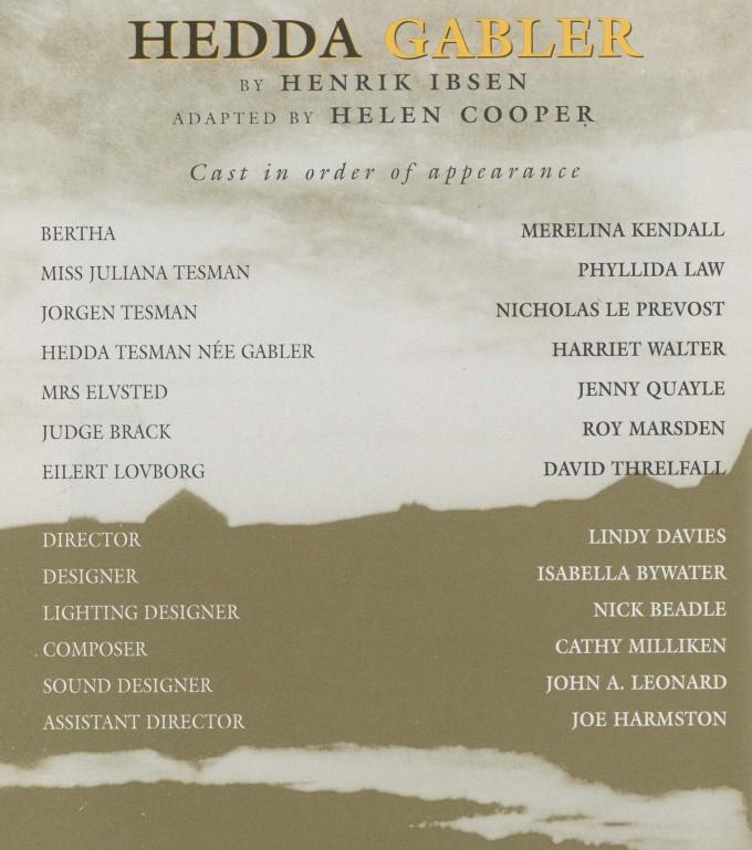 Cast list - Hedda Gabler - 1996 - 1 of 2