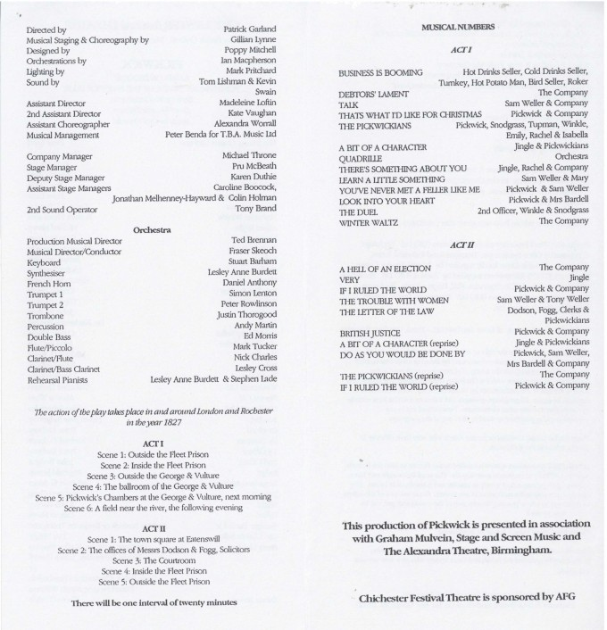 Cast list - Pickwick - 1993 -  2 of 2