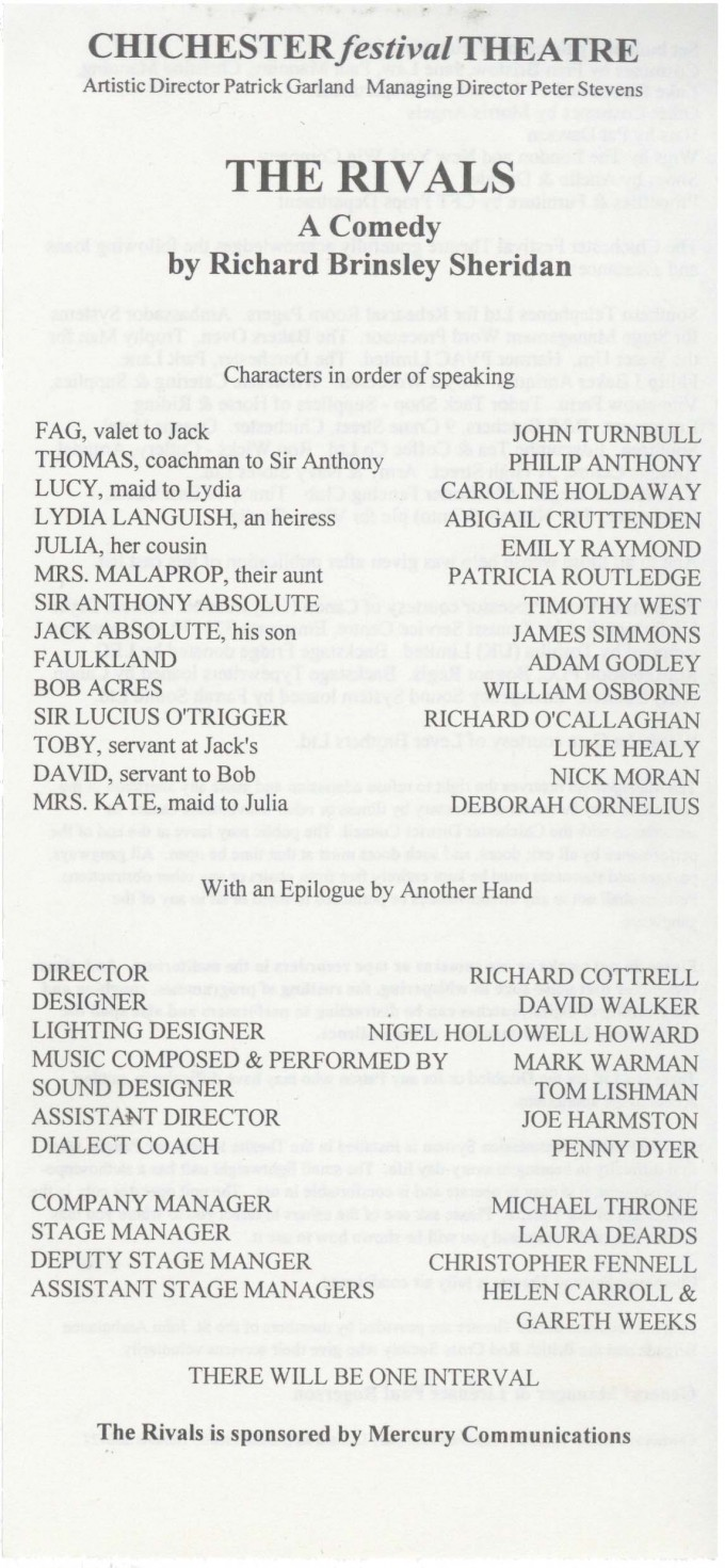 Cast list - The Rivals - 1994 - 1 of 2