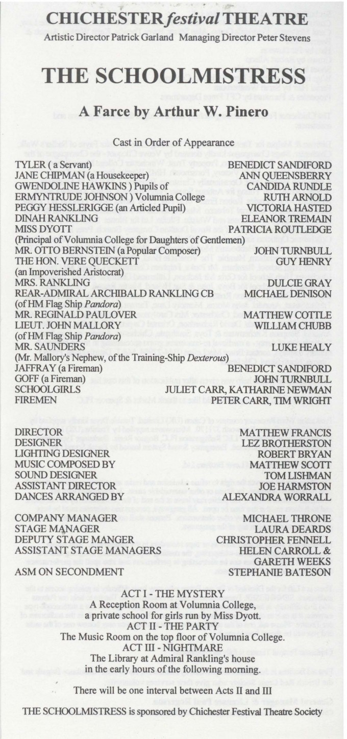 Cast list - The Schoolmistress - 1994 - 1 of 2