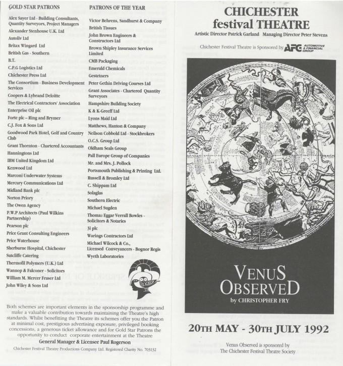 Cast list - Venus Observed - 1992 -  1 of 2