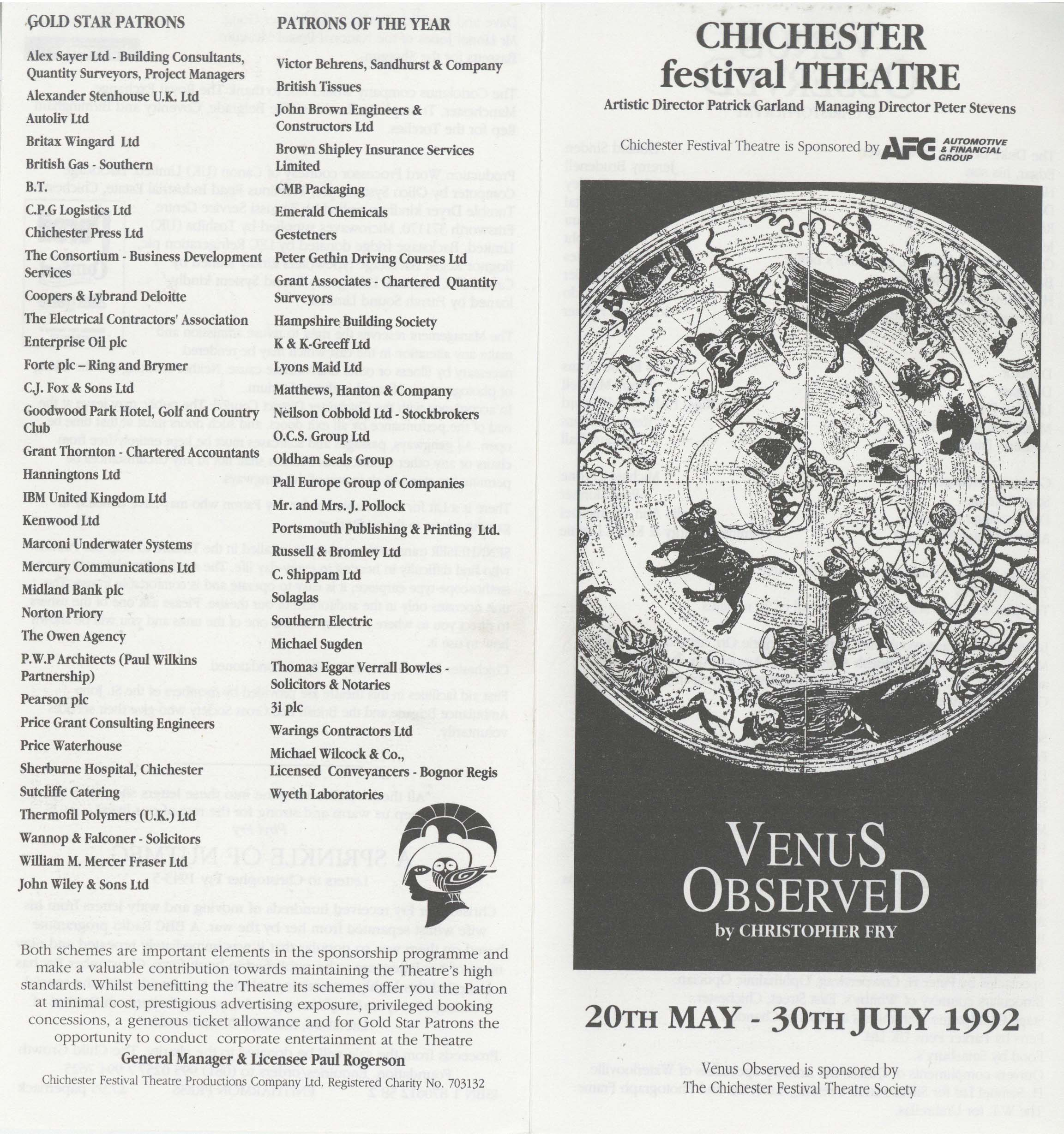 Cast list - Venus Observed - 1992 -  1 of 2