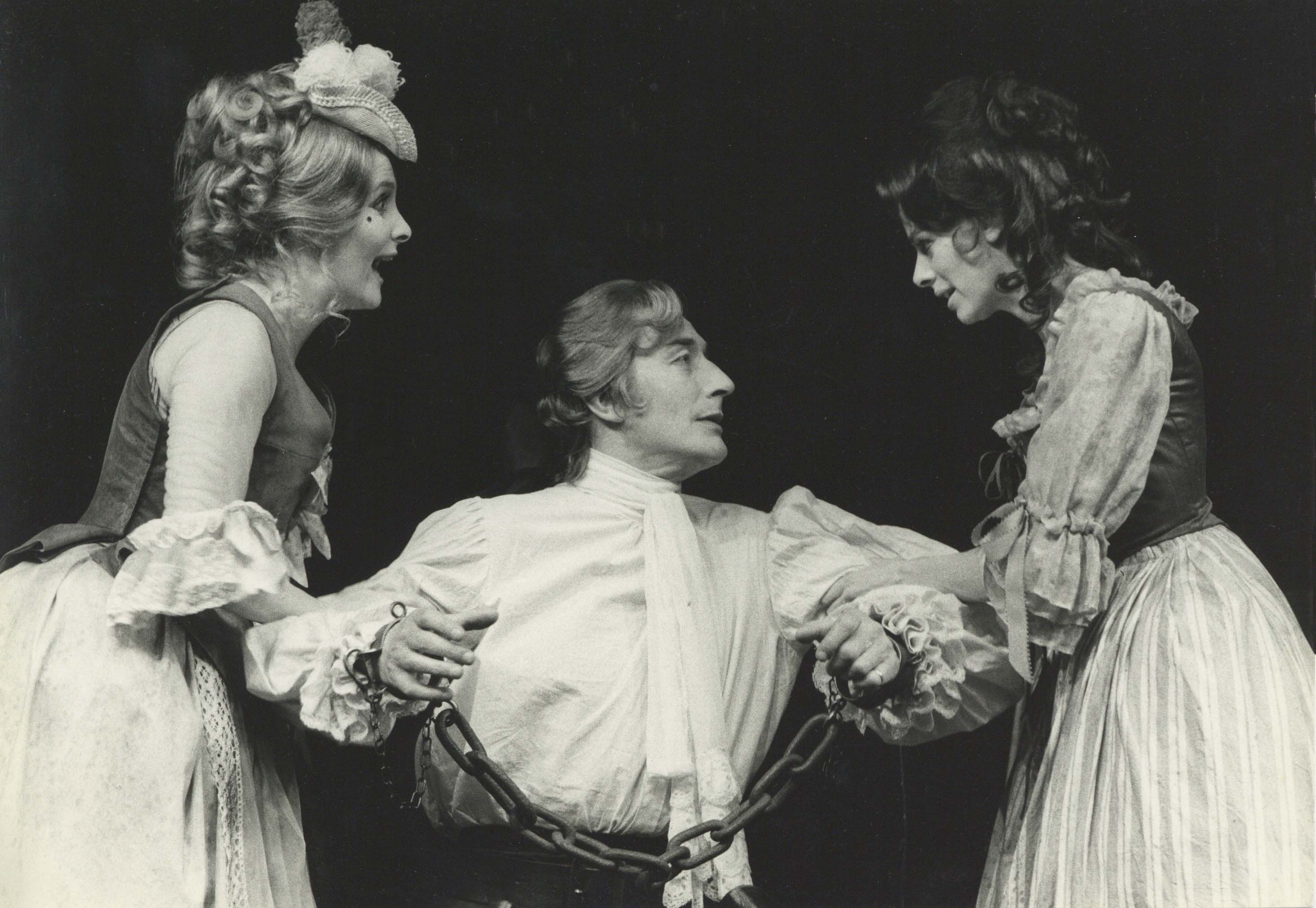 Production photograph - The Beggar's Opera - Millicent Martin, John Neville, Angela Richards - Photographer John Timbers - 1971