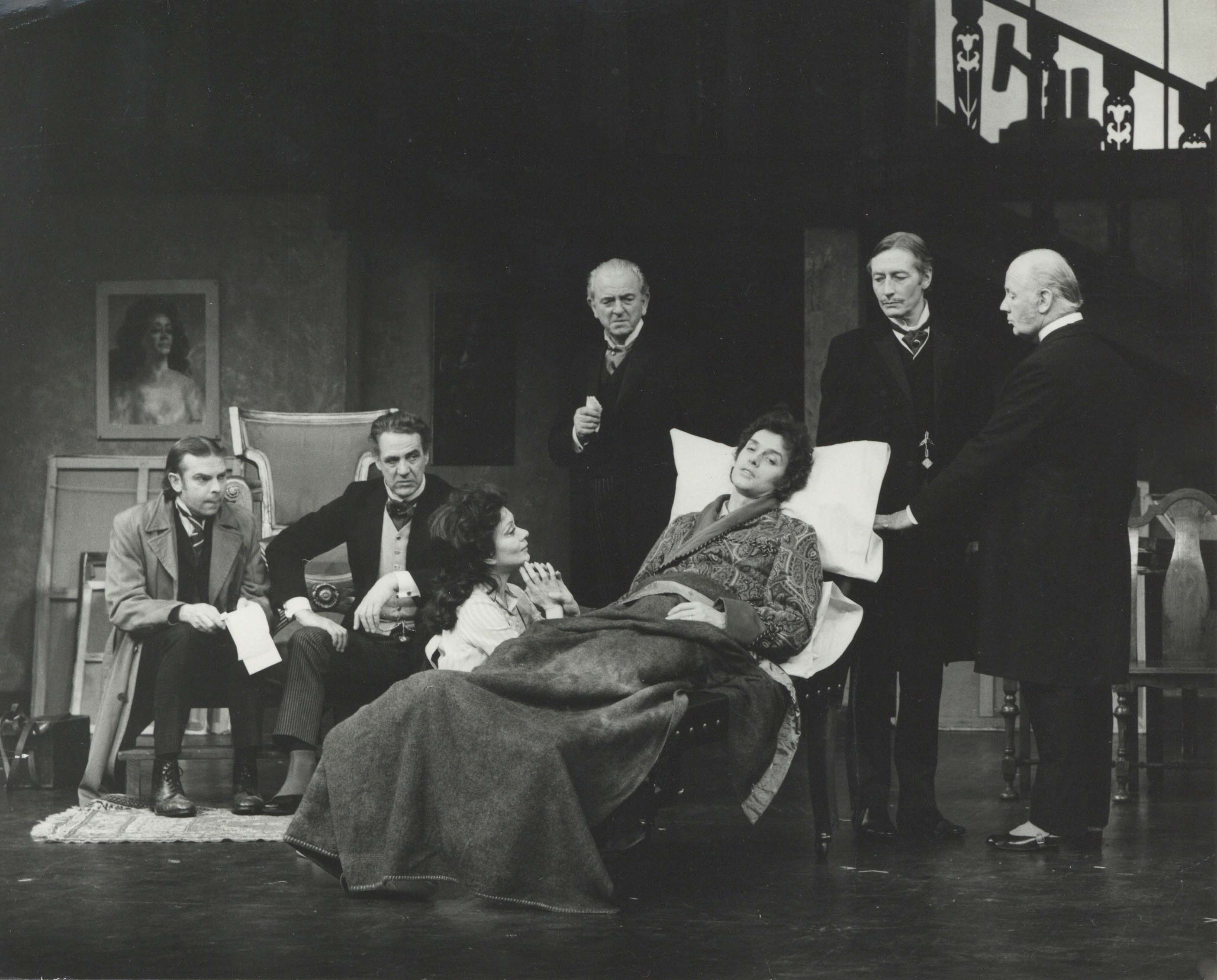 Production photograph - The Doctor's Dilemma - B Poyser, M Aldridge, J Plowright, J Clements, R Phillips, J Neville, W Mervyn - photographer John Timbers - 1972
