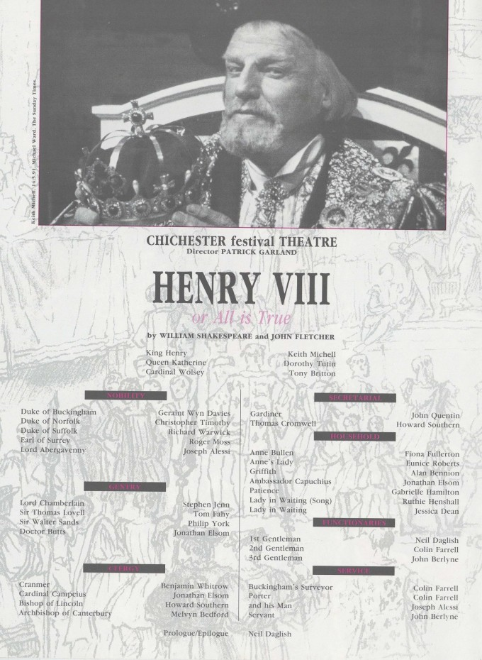 Programme cast list - Henry VIII of All is True - 1991 - R Ansley collection - H29.7xW42cm 1