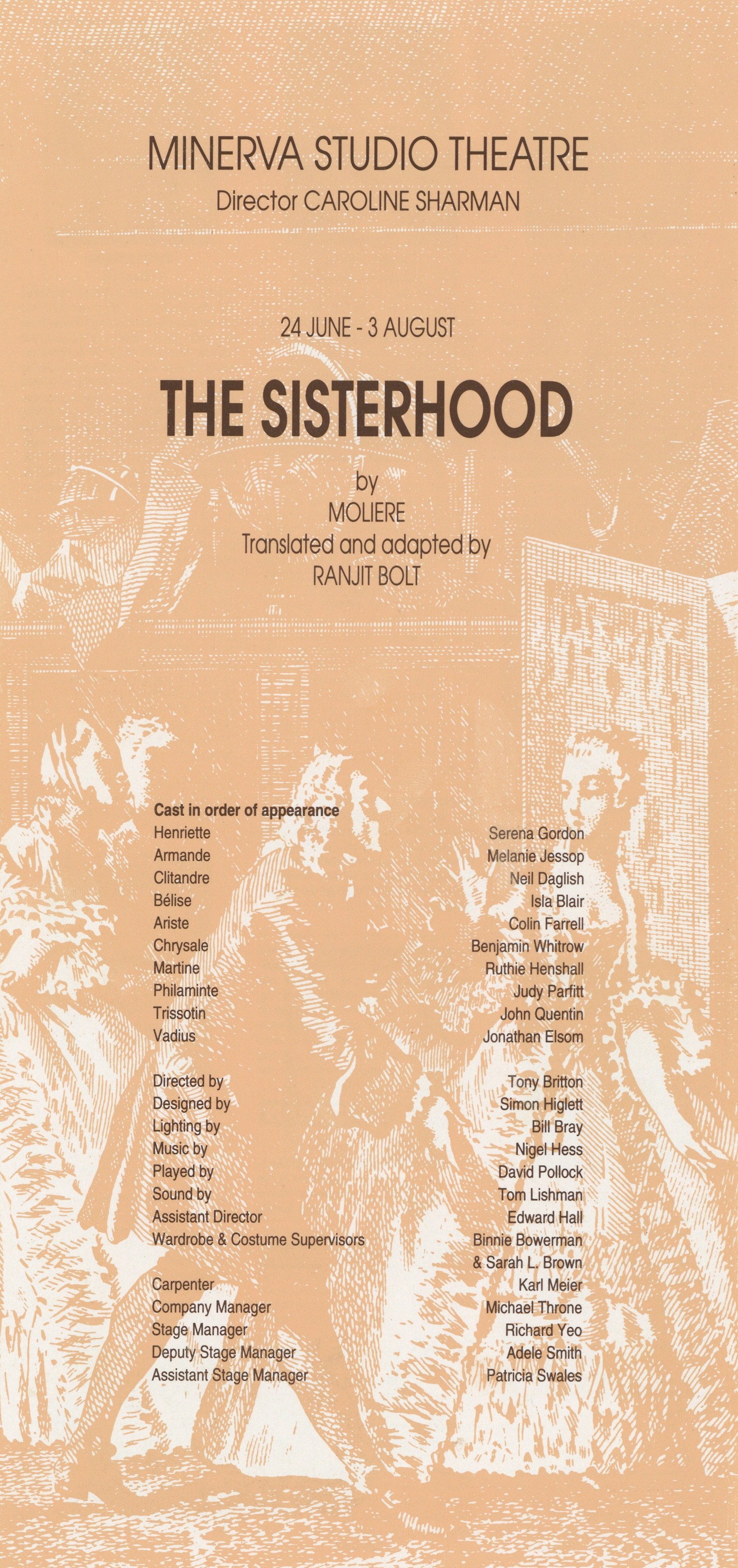 Programme cover - The Sisterhood - 1991 - R Ansley collection - H29.7cm W14cm