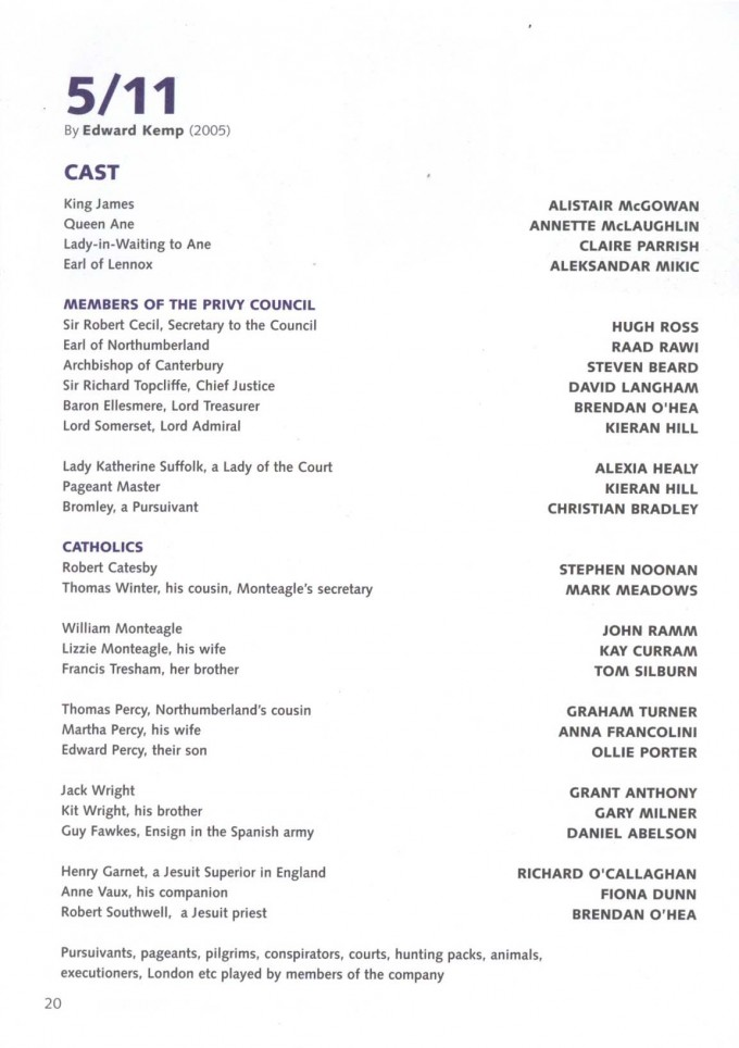 Cast List - 5 11 - 2005 -  1 of 2