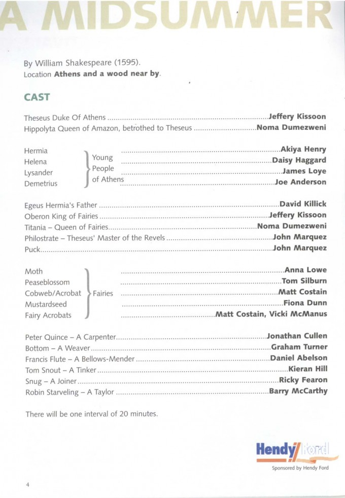 Cast List - A Midsummer Night's Dream - 2004 - 1 of 2