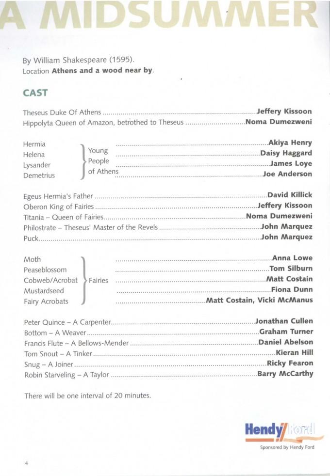 Cast List - A Midsummer Night's Dream - 2004 - 1 of 2