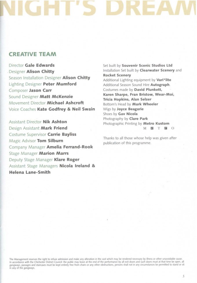Cast List - A Midsummer Night's Dream - 2004 - 2 of 2