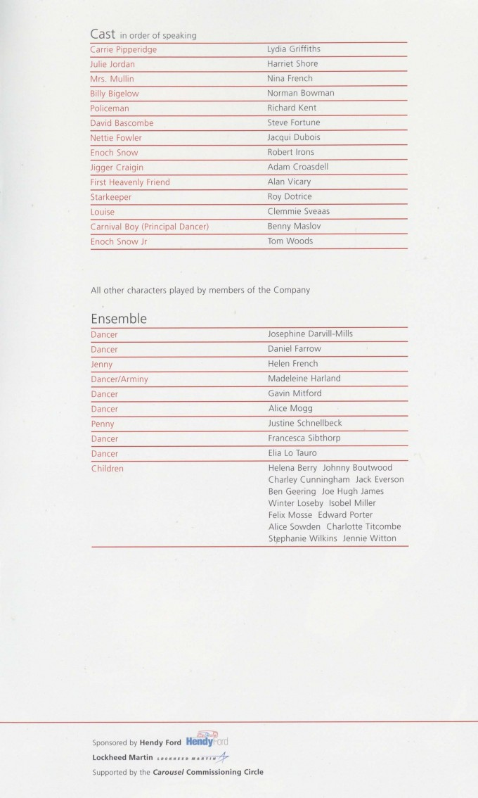 Cast List - Carousel - 2006 - 1 of 2