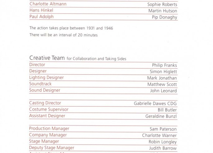 Cast List - Collaboration, Taking Sides - 2008 - 1 of 2