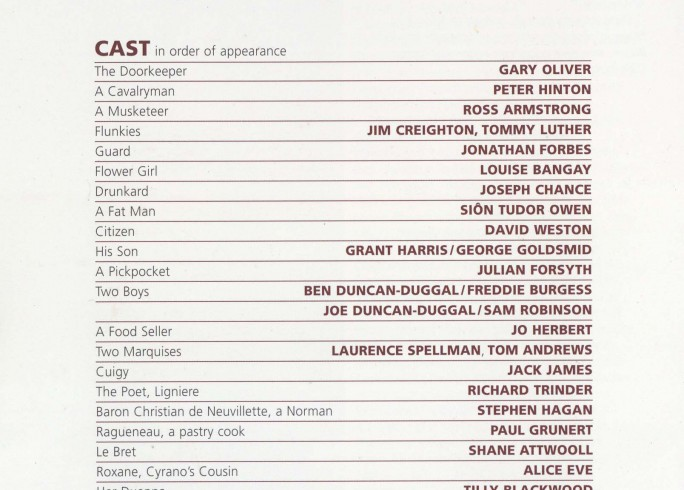 Cast List - Cyrano de Bergerac - 2009 - 1 of 2