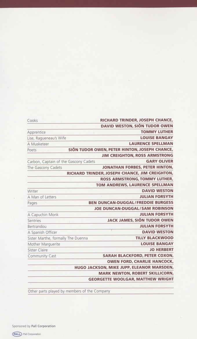 Cast List - Cyrano de Bergerac - 2009 - 2 of 2