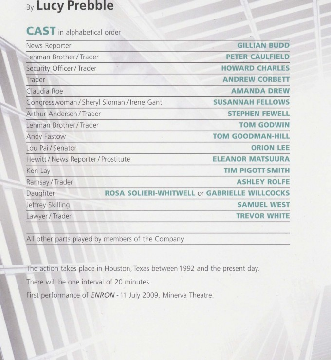 Cast List - Enron - 2009 - 1 of 2