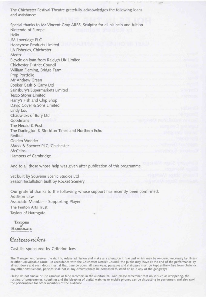Cast List - Holes in the Skin - 2003 - 2 of 2