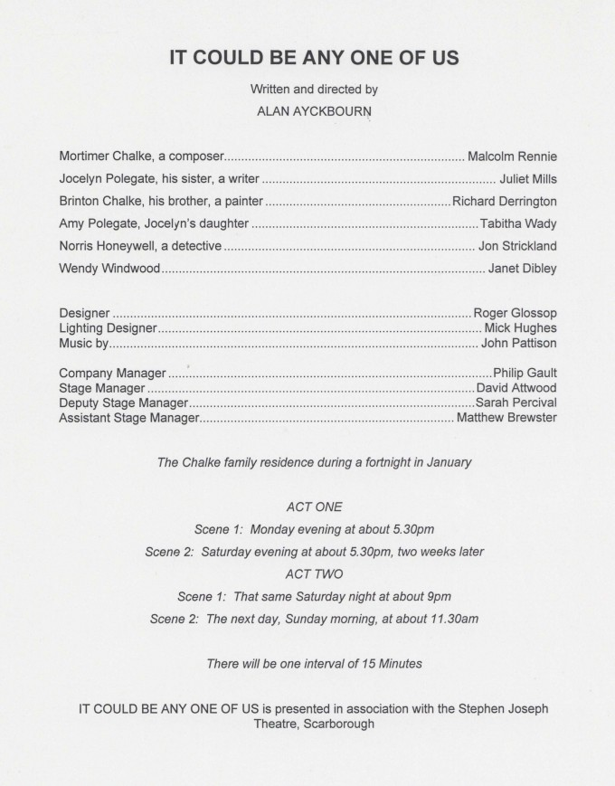Cast List - It Could Be Any One of Us -  1996 - H29.6cm W21cm_001