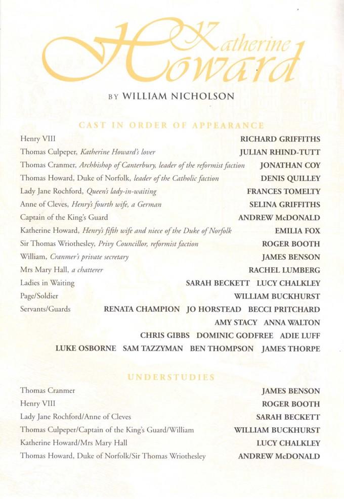 Cast List - Katherine Howard - 1998 - 1 of 2