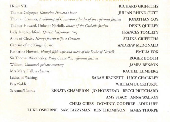 Cast List - Katherine Howard - 1998 - 1 of 2