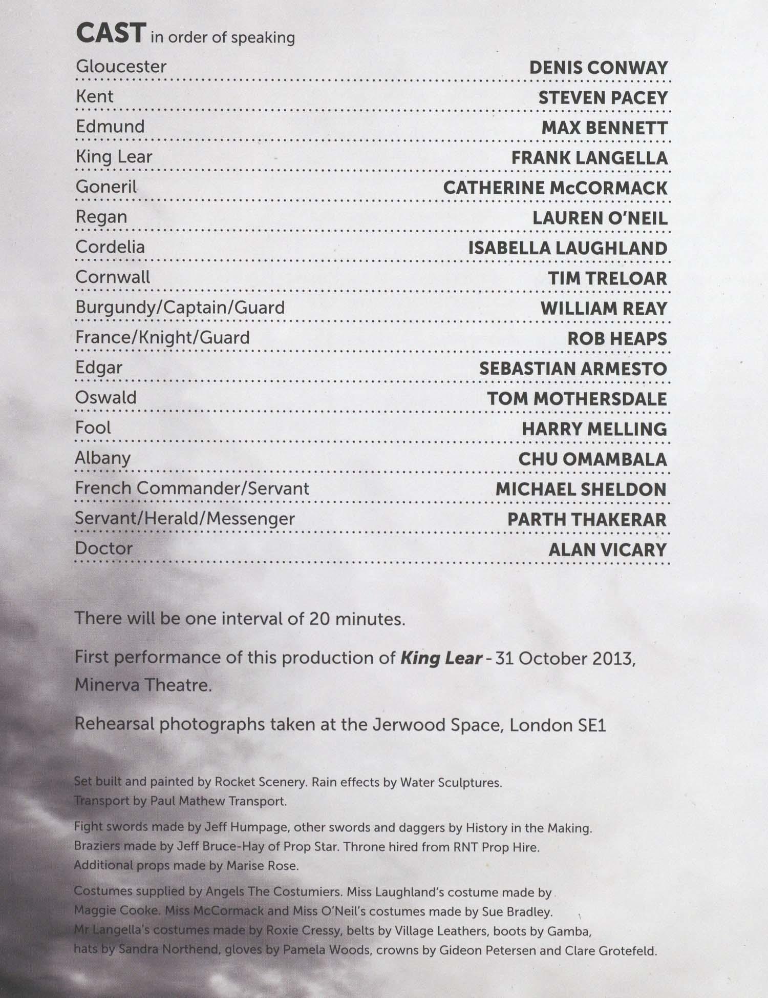 Cast List King Lear 2013 Pass It On