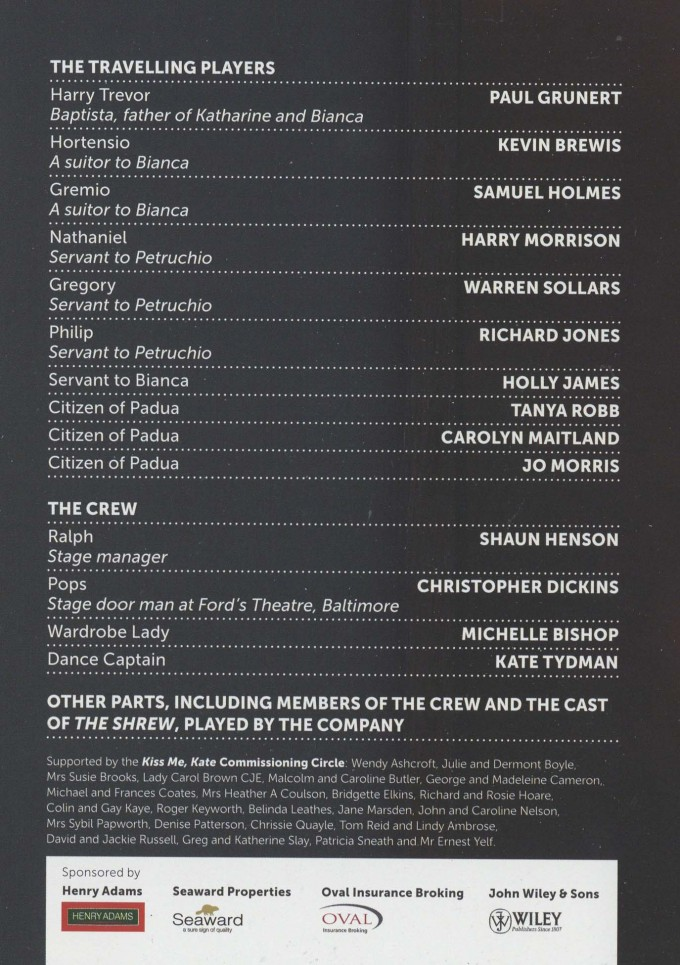 Cast List - Kiss Me Kate - 2012 - 2 of 2