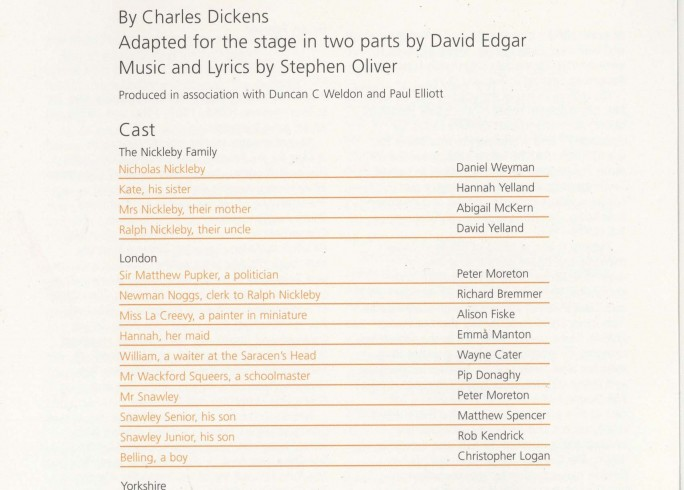 Cast List - Nicholas Nickleby - Parts I & II- 2007 - 1 of 4