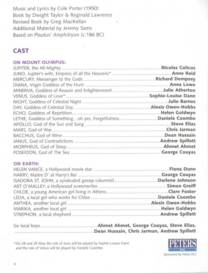 Cast List - Out of This World - 2003 - 1 of 2