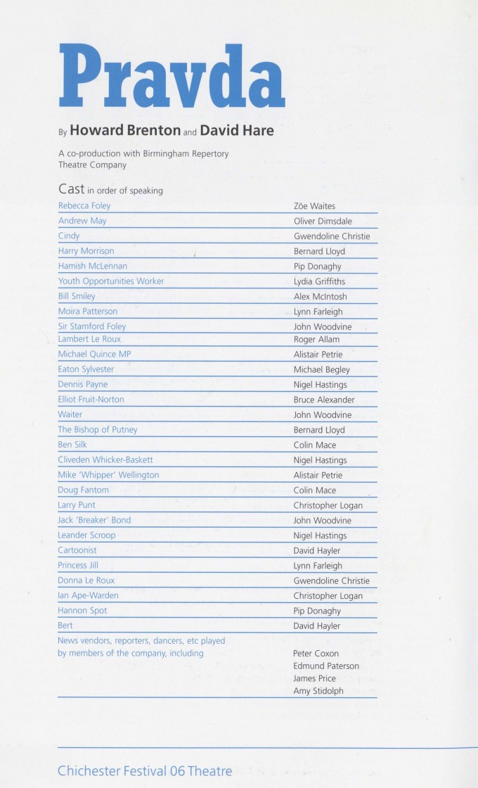 Cast List - Pravda - 2006 - 1 of 2
